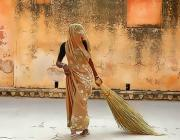 women with broom