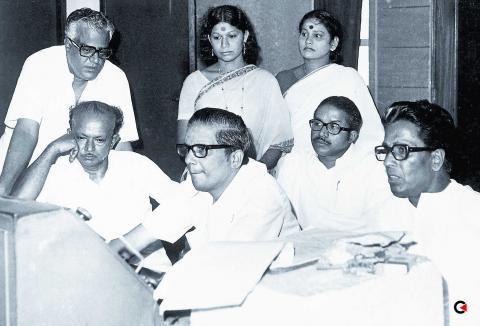 K Raghavan with Thoppil Bhasi, ONV, Editor Venkitaraman, KPAC Lalitha