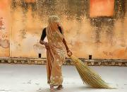 women with broom